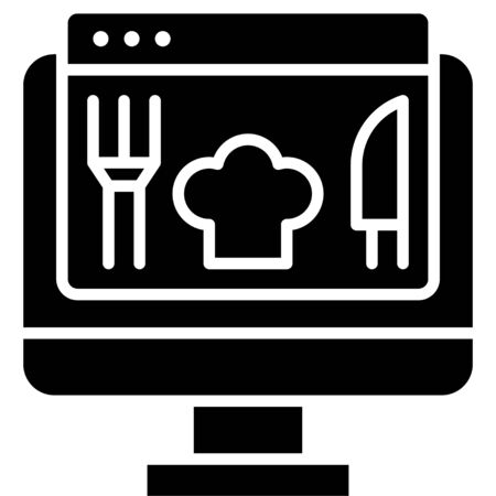 Order food, Telecommuting or  remote work related icon Vectores