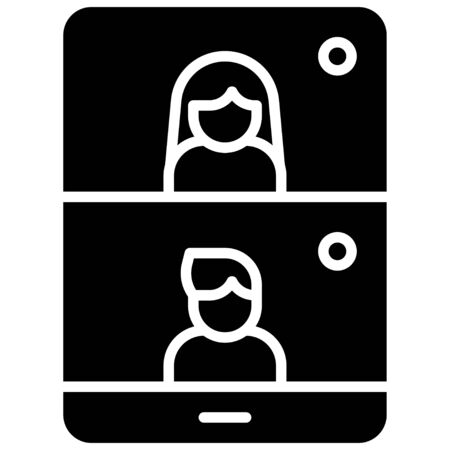 Videotelephony, Telecommuting or remote work related icon, vector illustration Illustration