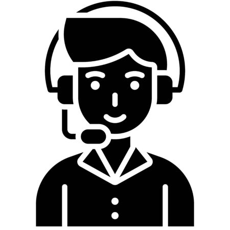 Man operator, Telecommuting or  remote work related icon