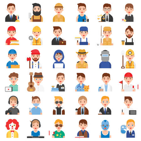 Profession and job related vector icon set 1, Male version Vector Illustration
