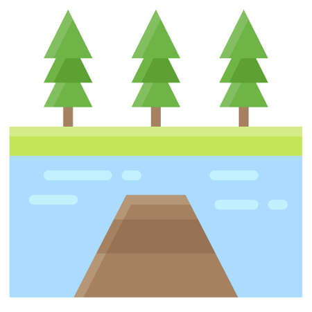 Jetty and lake icon, Summer vacation related vector illustration