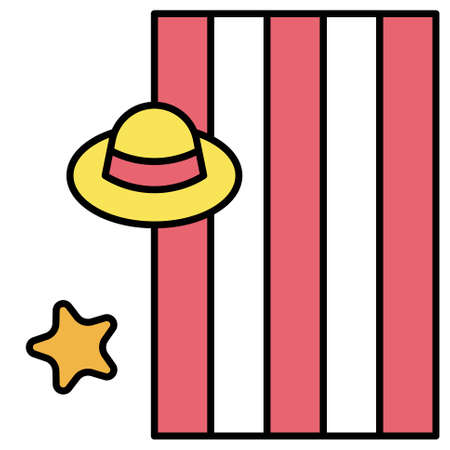 Straw hat on mat icon, Summer vacation related vector illustration