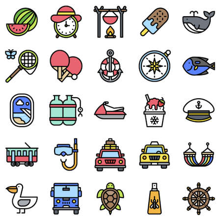 Summer vacation related vector icon set 6, filled style