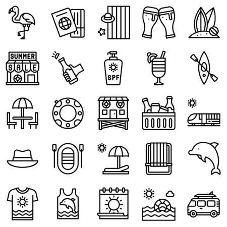 Summer vacation related vector icon set 3, line style Stock Illustratie