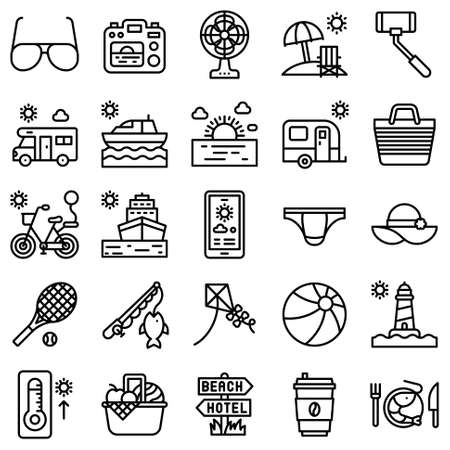 Summer vacation related vector icon set 4, line style