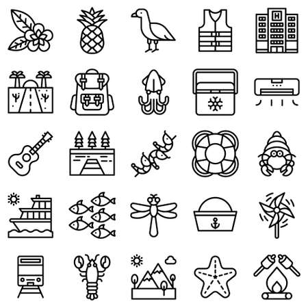 Summer vacation related vector icon set 5, line style