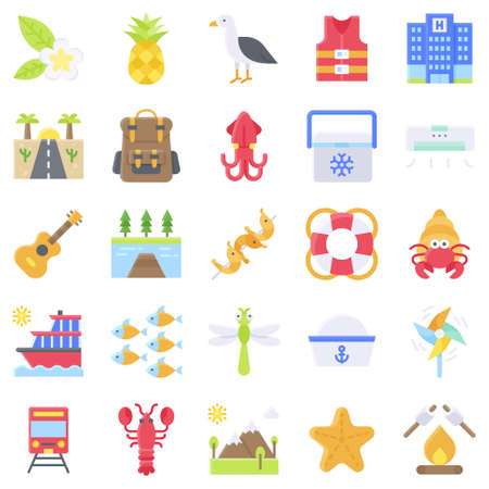 Summer vacation related vector icon set 5, flat style