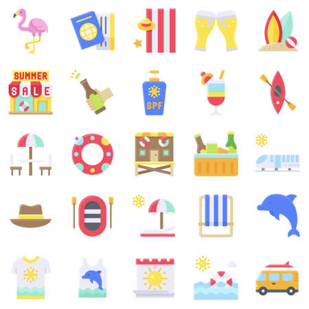 Summer vacation related vector icon set 3, flat style