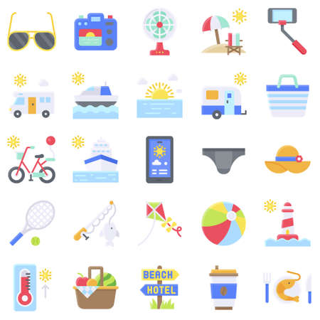 Summer vacation related vector icon set 4, flat style