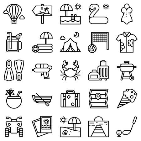 Summer vacation related vector icon set 2, line style