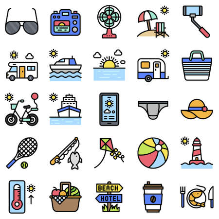 Summer vacation related vector icon set 4, filled style Vettoriali