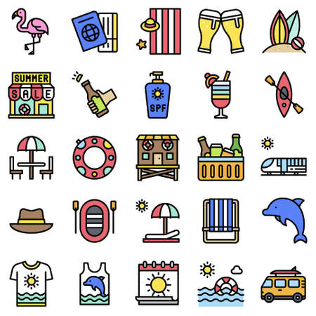 Summer vacation related vector icon set 1, filled style