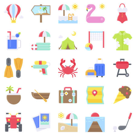 Summer vacation related vector icon set 2, flat style