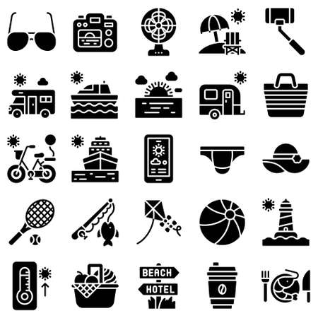 Summer vacation related vector icon set 4, solid style