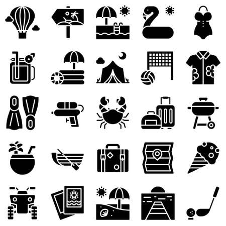 Summer vacation related vector icon set 2, solid style