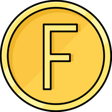 Fancs coin icon, franc is any of several units of currency Ilustração