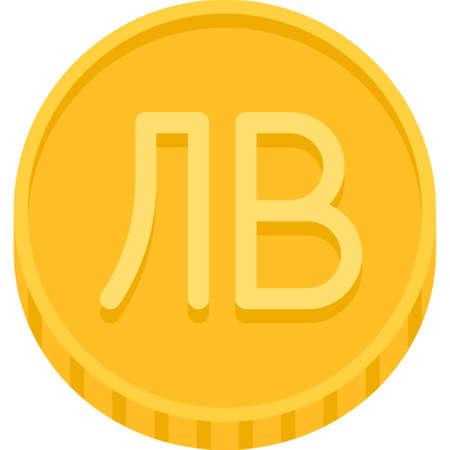 Bulgarian lev coin vector icon, currency of Bulgaria Vektoros illusztráció