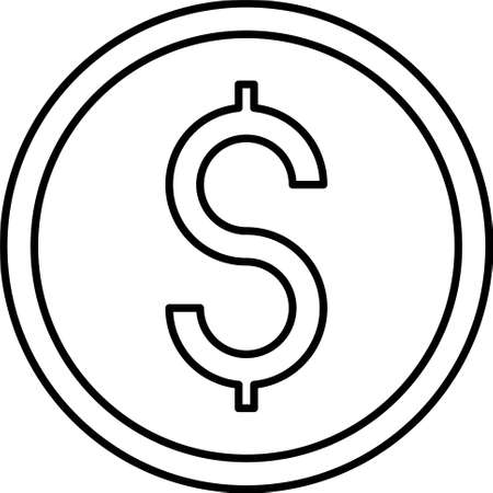 Dollar coin icon, dollar is the name of more than 20 currencies