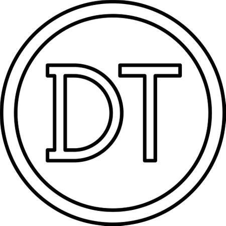 Tunisian dinar coin vector icon, currency of Tunisia