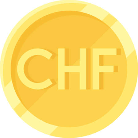 Swiss franc coin icon, currency and legal tender of Switzerland and Liechtenstein 向量圖像