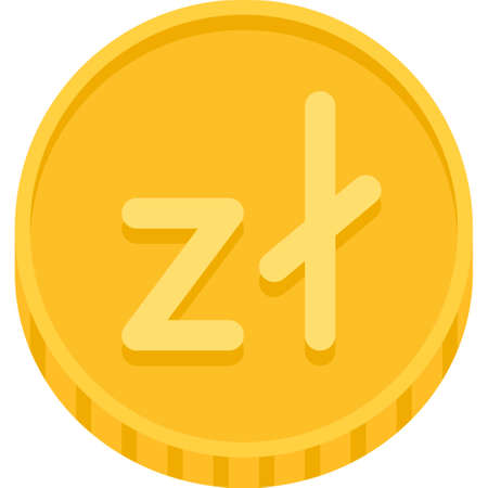 Polish złoty coin icon, official currency and legal tender of Poland