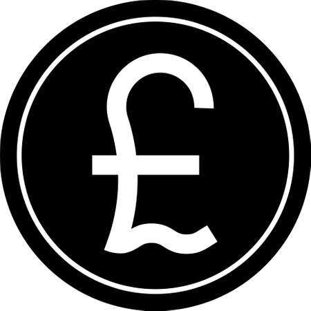 Pound coin icon, for the pound sterling and for currencies called pound Vetores
