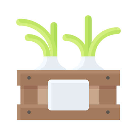 Wooden crate with spring onions icon, Thanksgiving related vector illustration