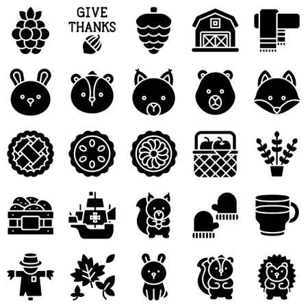 Thanksgiving related solid icon set 5, vector illstration Vetores