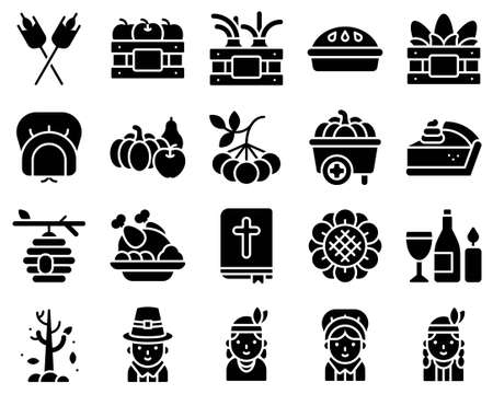 Thanksgiving related solid icon set 1, vector illstration