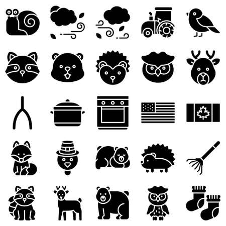 Thanksgiving related solid icon set 6, vector illstration