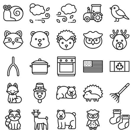 Thanksgiving related line icon set 6, vector illstration Ilustração