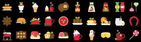 Christmas food and drinks flat icon set 3, vector illustration
