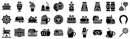 Christmas food and drinks solid icon set 3, vector illustration