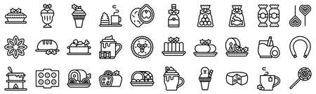 Christmas food and drinks line icon set 3, vector illustration