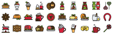 Christmas food and drinks filled icon set 3, vector illustration