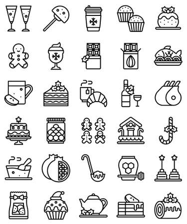 Christmas food and drinks line icon set, vector illustration
