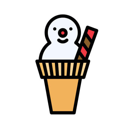 Snowman ice cream cone icon, Christmas food and drink vector illustration