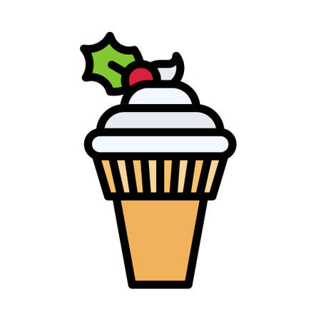 Soft serve icon, Christmas food and drink vector illustration