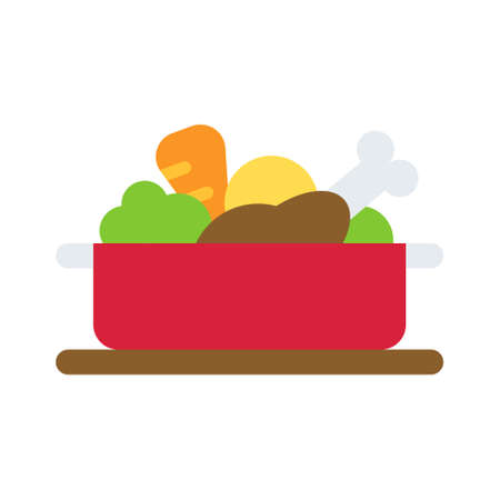 Stew pot icon, Christmas food and drink vector illustration