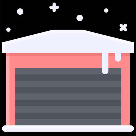 Winter Garage icon, Winter city related vector illustration Ilustracja