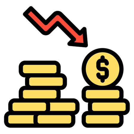 Coins with down arrow icon, Bankruptcy related vector illustration