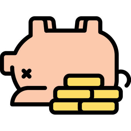 Piggy bank with coins icon, Bankruptcy related vector illustration
