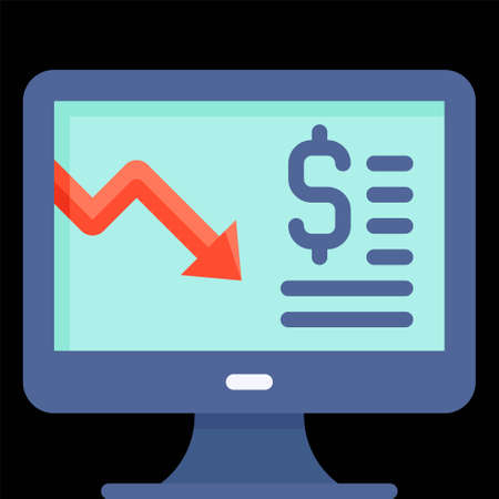 Monitor with decrease arrow icon, Bankruptcy related vector illustration