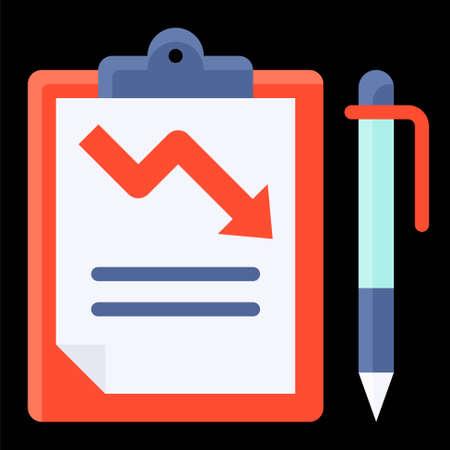 Depreciation report icon, Bankruptcy related vector illustration