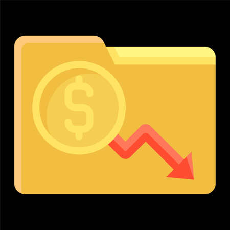 Folder with coin and decrease arrow icon, Bankruptcy related vector illustration