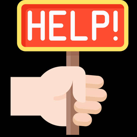 Hand holding Help sign icon, Bankruptcy related vector illustration
