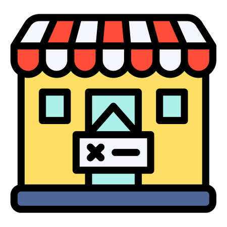 Closed Shop icon, Bankruptcy related vector illustration