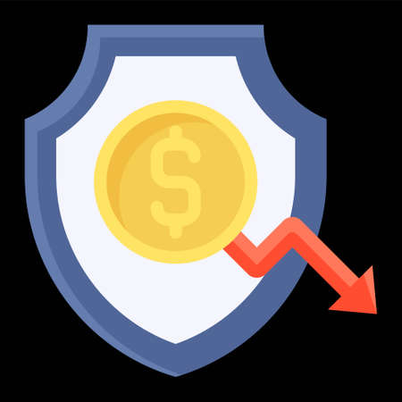 Shield with coin and decrease arrow icon, Bankruptcy related vector illustration