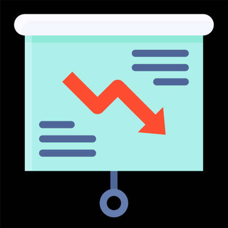 Projection screen with decrease arrow icon, Bankruptcy related vector illustration