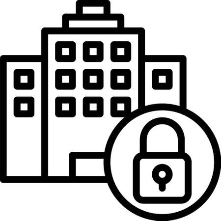 Hotel with lock icon, Bankruptcy related vector illustration